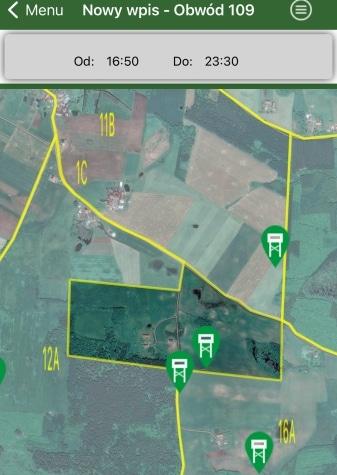 UWAGA !!! Kolejne wyłączenia z polowania obw. 109 – w rewirach 12A Zawadzki i 16A Miściór